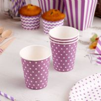 Carnival Purple Paper Cups - Dots (8)